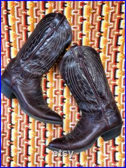 Justin Mens Leather Burgundy Cowboy Boots Western Rockabilly like new condition