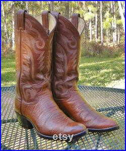 Justin USA 12 Leather Western Boots Brown ALL LEATHER pegged soles New 1 2 Soles Men 8D
