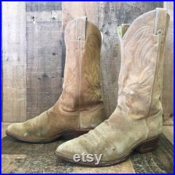 Justin Vtg Suede Cowboy Boots Mens 9.5 D