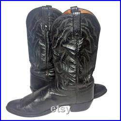 LUCCHESE 2000 BLACK LEATHER Cowboy Boots Men's Size 12 D Western Country Riding Texas Made in U.S.A.