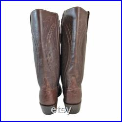 LUCCHESE Brown Leather Side Zip Cowboy Boots Men's Size 8 D Western Country Handmade Made in U.S.A.