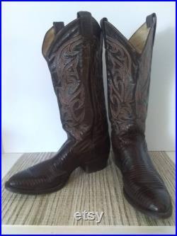 Larry Mahan Brown Lizard Cowboy Western Boots Size 8 D