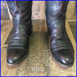 Lucchese 1883 Vtg Black Cherry Cowboy Boots Mens 10 EE
