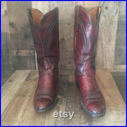 Lucchese San Antonio Vtg Black Cherry Cowboy Boots Men s 9 D