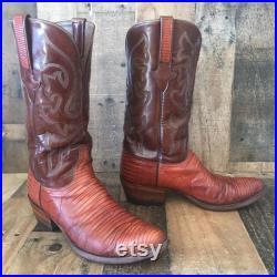 Lucchese Vtg Handmade Teju Lizard Cowboy Boots Mens 9.5 EE