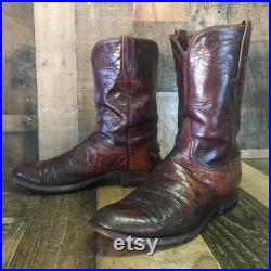 Lucchese Vtg Roper Smooth Ostrich Cowboy Boots Mens 10 d