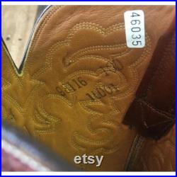 Lucchese Vtg San Antonio Leather Inlay Cowboy Boots Mens 10 D