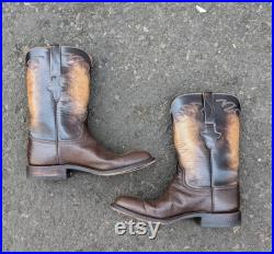 Lucchese roper boots 8D ostrich two-tone