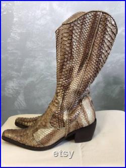 MAURO VOLPONI stylish snakeskin boots size EU 38