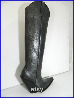 MEN made to order Bull neck black silver shade cowboy boots sharp toe 5 inch slanted heels 22 inch tall boot MADE to order
