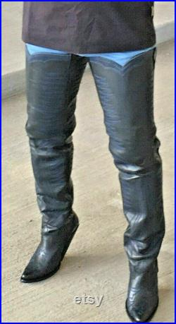 Made to order 34 inches tall cowboy boots with decorative stitching sharp toe heel height form 2 to 5 inches high