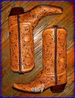 Made to order hand tooled boots made to order to your size men or woman sizes