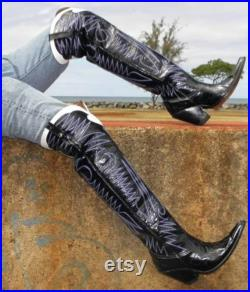 Made to order men boots 28 inches tall cowboy boots made in paternt leather any heel height.