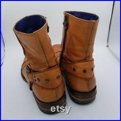 Mark Nason Leather cognac distressed Boots tan blue liner Leather mens Sz 10.5