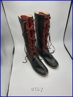 Medieval Leather Knee-High Boots, Viking Boots, Medieval Boots, Custom Made, Naturel Leather Boots, Handmade, FREE SHIPPING