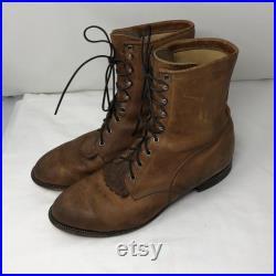 Men Size 12 Vintage Justin Leather Brown Roper Boots