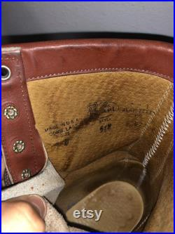 Men Size 9 Vintage Justin Brown Ankle Roper Boots- 90s Fashion