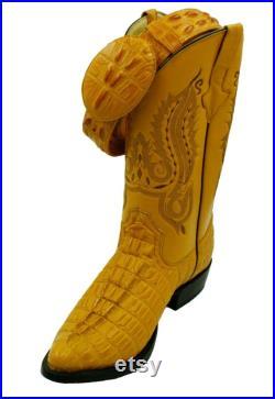 Men's Genuine Leather Crocodile Print J Toe Cow Boy Boots With Free Belt