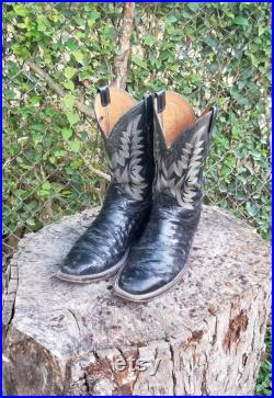 Men's Lucchese Harmon Full Quill Ostrich Boots Handcrafted Black