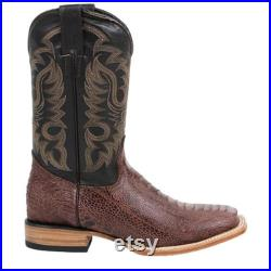 Men's Quincy Ostrich Leg Print Brown Boots Square Toe Handcrafted