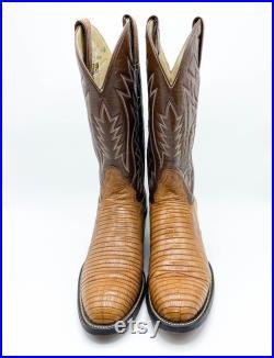 Men's Vintage 80's Hondo El Paso Texas Cowboy Boots Lizard Leather Brown Size 8.5 Women's 10.5
