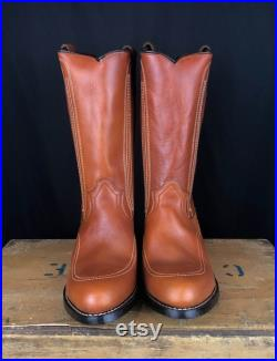Men's Vintage Deadstock Georgia Boot Brown Leather Cowboy Boots 9