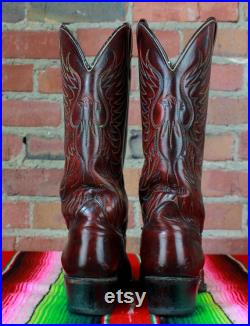 Men's Vintage Stock Show Cowboy Boots Oxblood Eagle Western Leather Size 8D