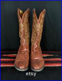Men's Vintage Tony Lama Brown Snake Leather Cowboy Boots 10.5