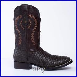 Men's Western Boot Botas de Hombre, Bota Rodeo Armadillo Imitaci n 726