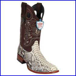 Men's Wild West Python Wide Square Toe Boots Handcrafted