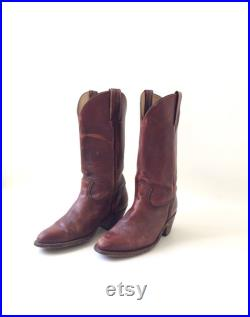 Mens FRYE Brown Leather Cowboy Boots Size 9.5