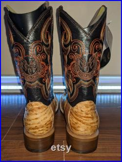 Mens Ostrich Neck Quill Skin Cowboy Boots Genuine Exotic Leather Rodeo Umber NEW