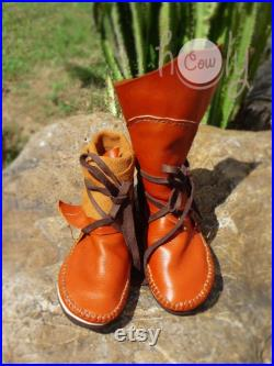 Moccasin, Orange Moccasins, Moccasin Boots, Womens Moccasins, Leather Moccasins, Leather Boots, Mens Moccasins, Womens Boots, Orange Boots