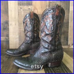 Montana Vtg Snakeskin Cowboy Boots Mens 10 d