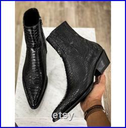 New Bespoke Pure Handmade Black Colour Python Skin Side Zipper Chelsea Boots For Men, Men's Stylish Boots