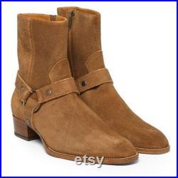 New Handmade Cowboy Zipper Boot For Men's