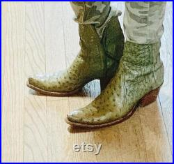 New Handmade Pure Light Green Ostrich Leather Cowboy Boots for Men's