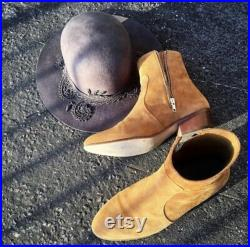 New Handmade Pure Suede Leather Tan Zipper Cowboy Style Boots for Men's