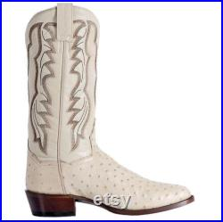 New Handmade Pure White Ostrich Leather Stylish Cowboy Boots for Men's