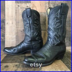 Olathe Vtg Classic Black Cowboy Boots Mens 12 B