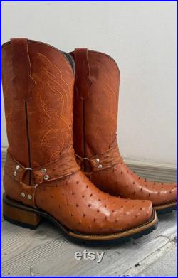 Ostrich genuine leather boots for men, please ask for the required size