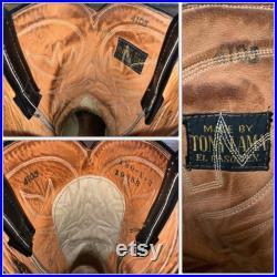 Pre 1970 TONY LAMA Black Leather Cowboy Western BOOTS 10 Texas Square Toe Southwestern Rodeo Farm Disco Black and Gold Label Honky Tonk