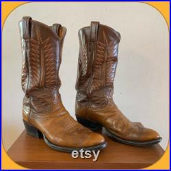 Pre 1970 TONY LAMA Brown Leather Cowboy Western BOOTS 10 Texas Round Toe Southwestern Rodeo Farm Disco Orange Stitch Fancy Honky Tonk