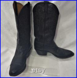 Pull On Lucchese Classics Men 8.5 D Handmade Leather Boots Western Embroidered Black Made in USA Solid Pointed Toe 80s 90s 70s