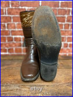 RARE 70's Stuart McGuire cowboy western rodeo gaucho ranch brown leather boots size 9 1 2D made in England