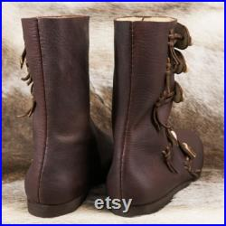 RASMUS Viking Leather Shoes with Antler Buttons Boots Shoe Vikings Medieval low Middle Ages Norse Re-enactment Pagan Sword Fighting Replica
