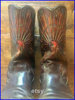 Rare Men's Cowboy Boots, with PEACOCK INLAY