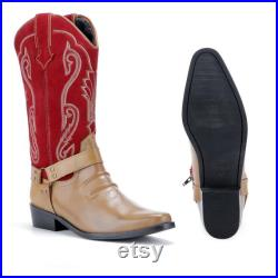 Red Mens Cowboy Boots Pull On Suede Leather Embroidered Ankle Western Long Smart Cuban Heel Men Shoes Handmade