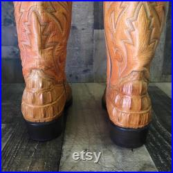 Rudel Caiman Tail Embossed Cowboy Boots Mens 8.5e