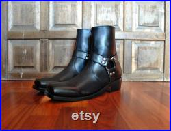 SQUARE Toe Black Leather Harness Boots. (All Sizes)